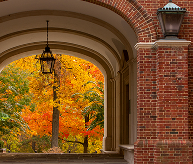 Upham Arch with fall-colored leaves in the background