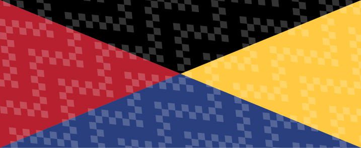 A rectangle divided into black, yellow, blue, and red sections
