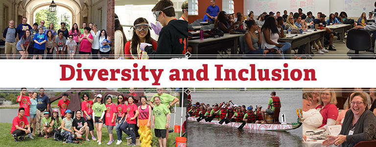 Diversity and Inclusion. Photo collage of students in classes, and in a dragon boat race.