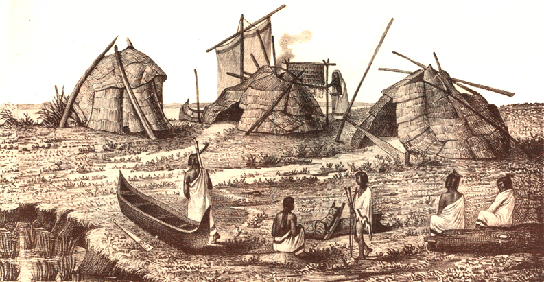Drawing of long-ago Miami tribe life, featuring dwellings and people in canoes
