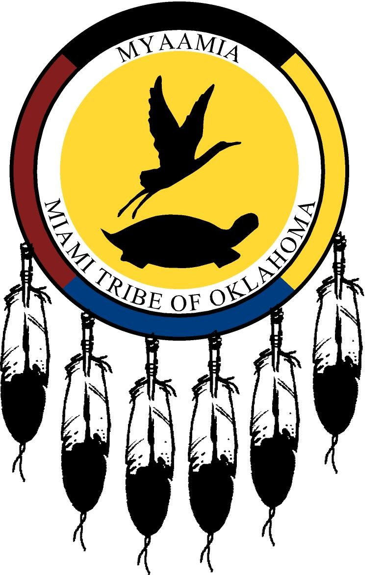 Seal of Miami Nation, depicting a sandhill crane and turtle inside a multi-colored circle. Six feathers hang from the bottom portion of the circle. Text: Myaamia, Miami Tribe of Oklahoma