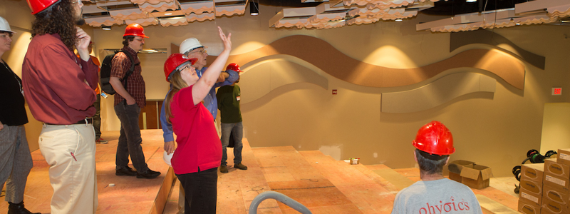 Miami staff inspect the progress of the Sheidler Hall auditorium rennovation