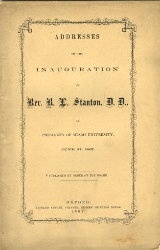 Cover of booklet containing Stanton's speeches