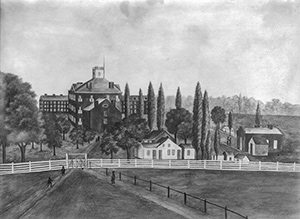 Drawing of Miami campus, approximately 1838