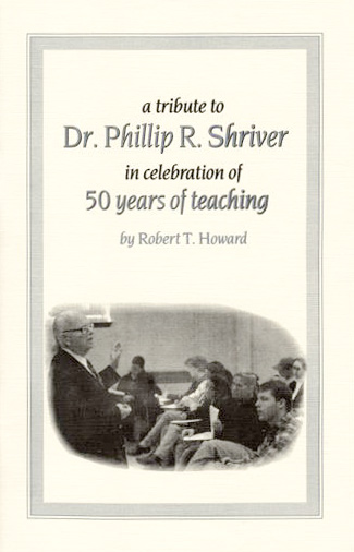 Cover of tribute booklet for Phil Shriver