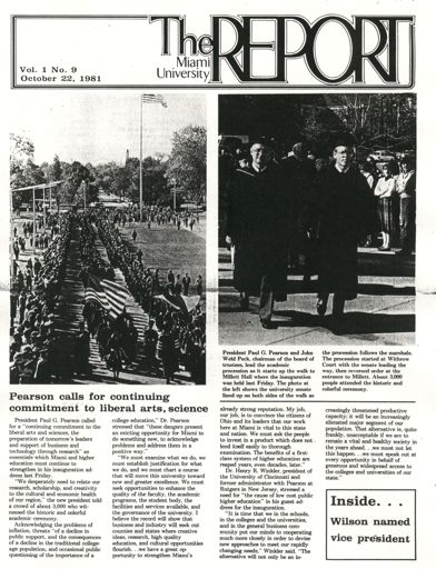 Front page of the Miami Report , covering Paul Pearson's inauguration
