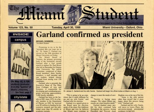 Front page of the Miami Student newspaper, announcing Garland's selection