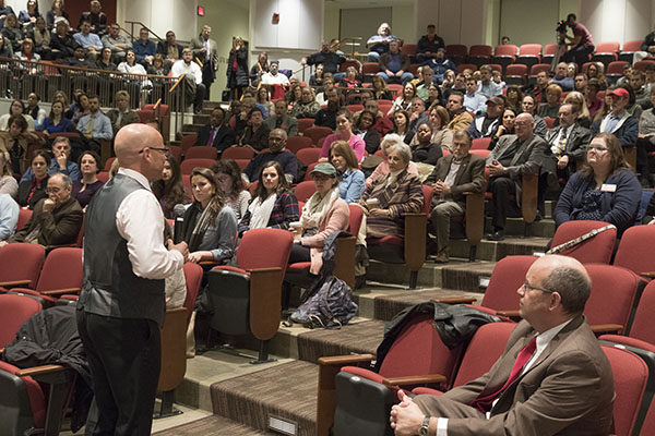 Dr. Crawford speaks at the Open Forum on the Oxford campus