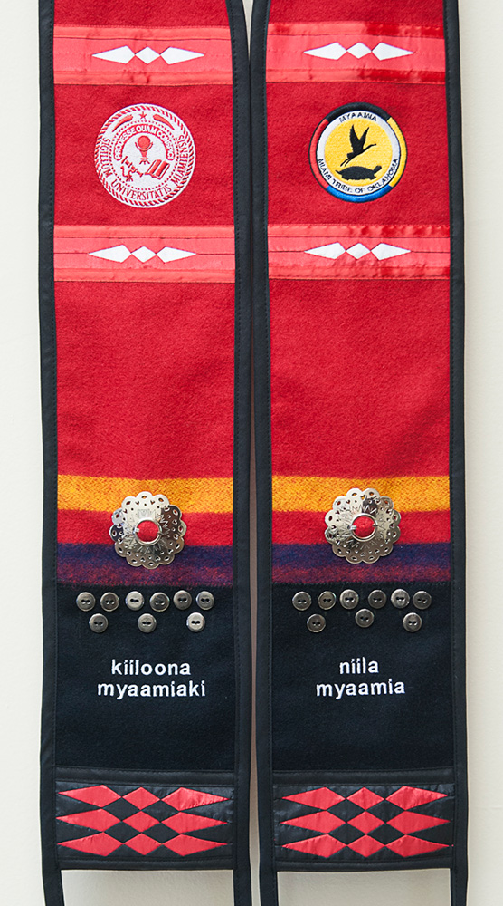 Mock-up of the sash Chief Lankford will be wearing, it has the Miami and myaamia seals as well as some myaamia words at the bottom
