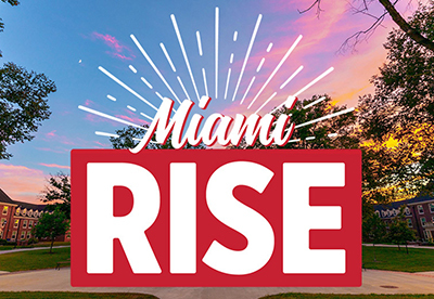 Logo for Miami RISE campaign with rays of light eminating from it