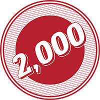 2,000 in a red-striped circle with a red center