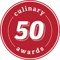 50 culinary awards written inside a red circle