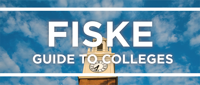 White text reads '16 Fiske Guide to Colleges overlaying a photo of the blue sky and Pulley Bell Tower