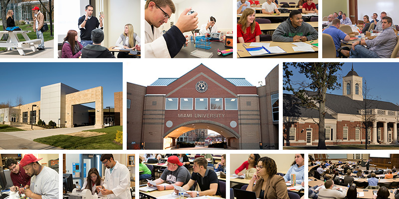 A collage of three buildings--each one representing a regional Miami campus--around the buildings are other photos of students and professors in various contexts around campus
