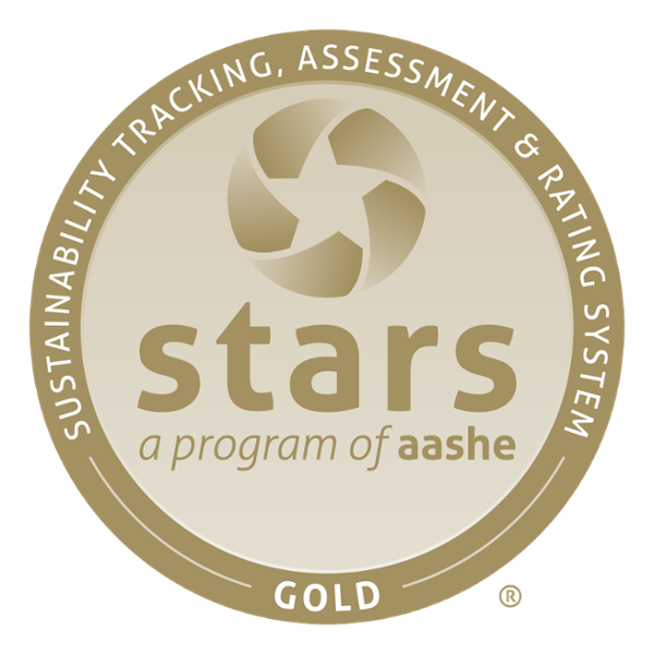 STARS logo: Sustainability Tracking, Assessment and Rating System. STARS Silver a program of aashe