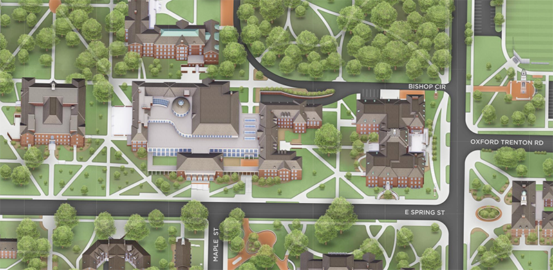 Campus map view of area surrounding the Armstrong Student Center