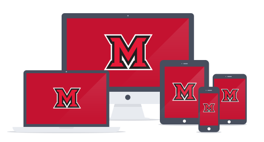 Computer screens with Miami logo