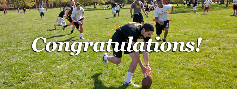 Congratulations! -Students playing flag football-