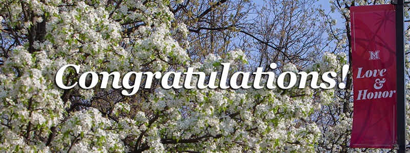 Congratulations! -'Love and Honor' banner near a blossoming tree-