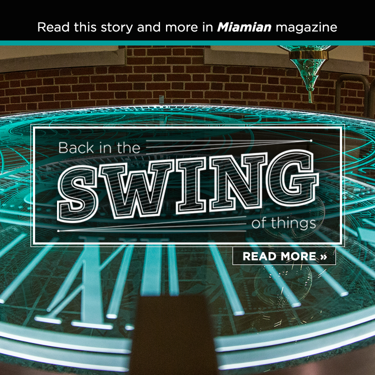 Back in the swing of things. Read more » Read this story and more in Miamian magazine. Photo of a pendulum lit in teal.