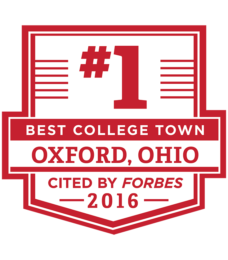 Oxford, OH: Best College Town, cited by Forbes in 2016