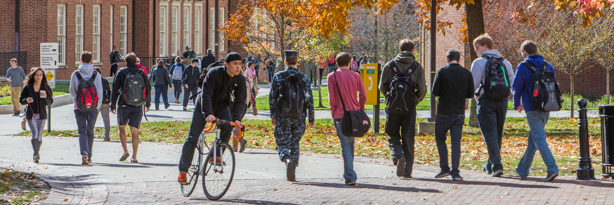 Students walking to and from various activities near Armstrong Student Center