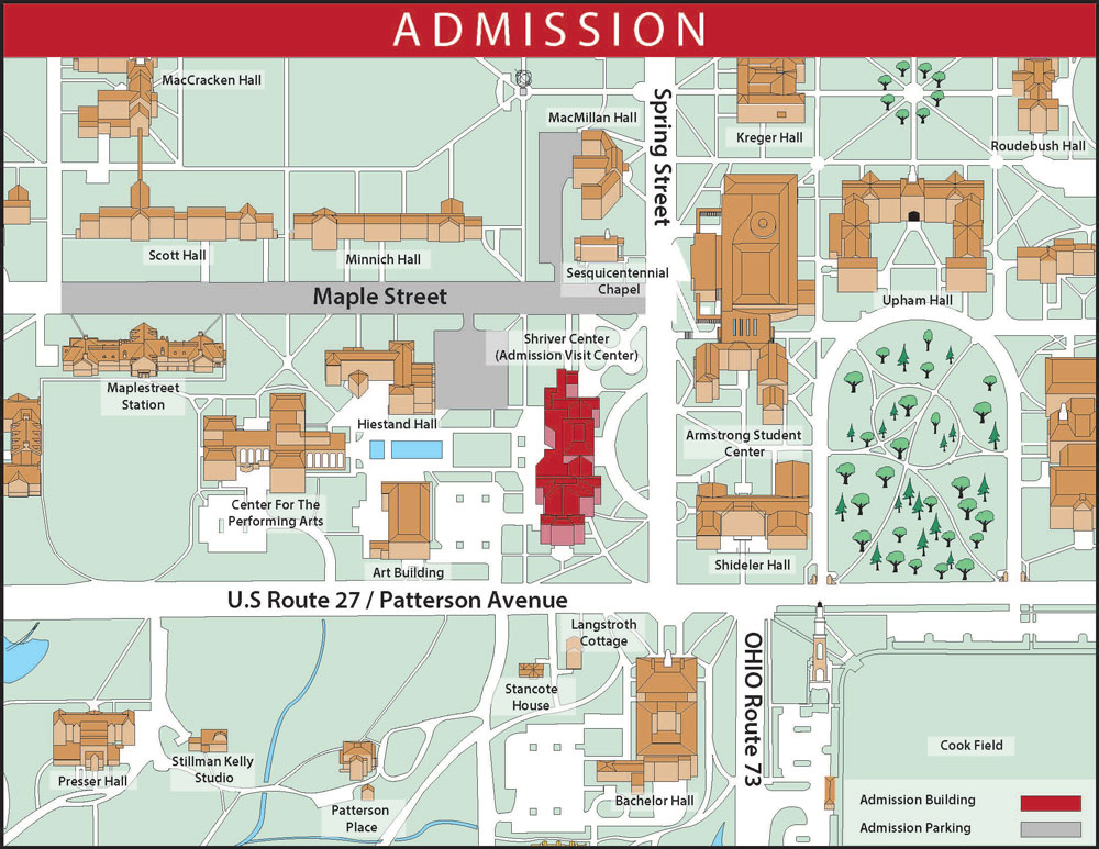 Admission parking map. Shriver Center (Admission Visit Center) is located at the southeast corner of Maple St. and Spring St. Admission parking is available on Maple Street, in the parking lot behind (south of) MacMillan Hall and Sesquicentennial Chapel, and in the parking lot southwest of Shriver Center. These two parking lots are both located directly off of Maple Street. height=