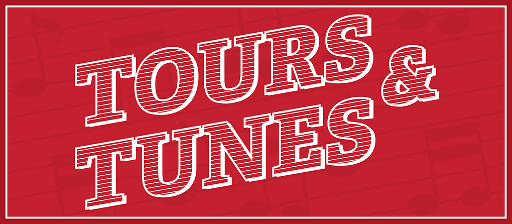 Text-Tours & Tunes-on a red background with dark red music notes on it