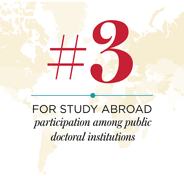 number three for study abroad participation among public doctoral institutions