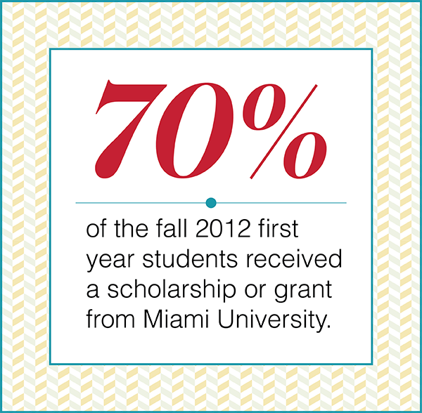 Seventy percent of the fall 2012 first year students received a scholarship or grant from Miami University.
