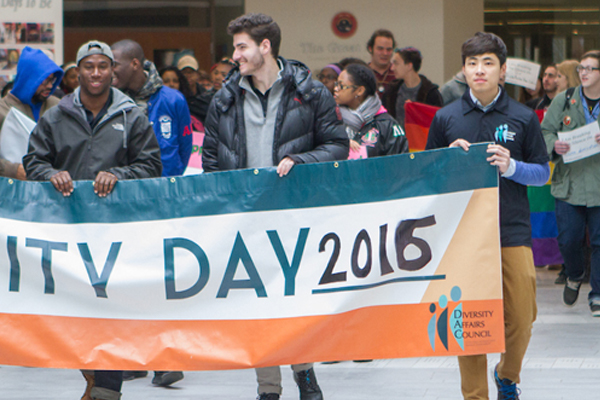 Students march in the Unity Day parade