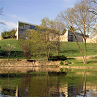 Miami University Art Museum, posterior of the building next to a pond