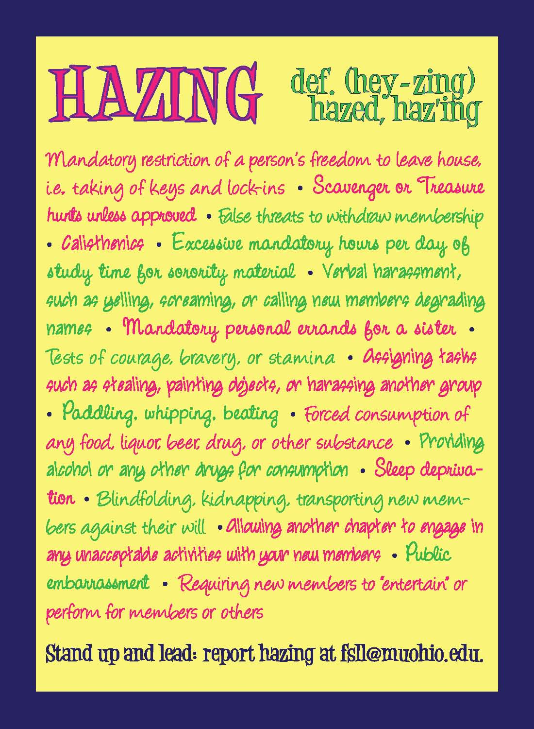 Definition of hazing for girls