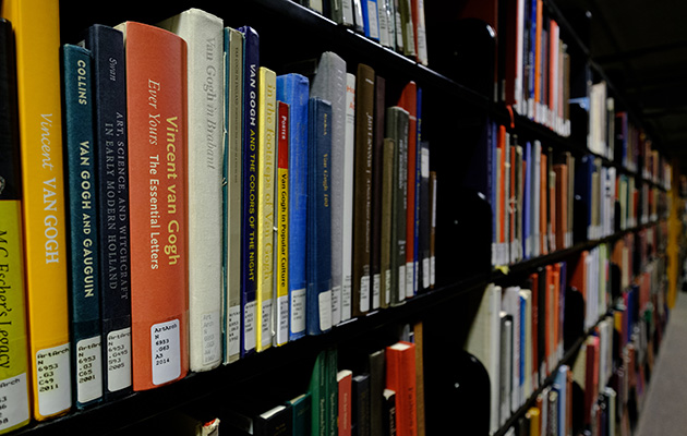 Library shelf of books