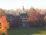 MacCracken Hall at a distance on a fall day