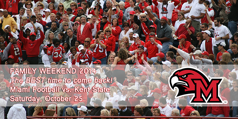 Family Weekend football game against Kent State announcement October 25 with crowd cheering and text overlay and redhawk logo