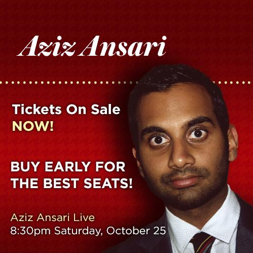 Aziz Ansari Live announcement