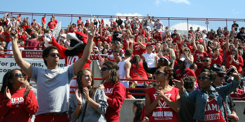 crowd cheering in the stand at a football game