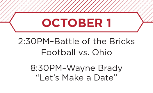 October 1. Battle of the Bricks, Football vs. Ohio. Annual Family Weekend Entertainment, TBD