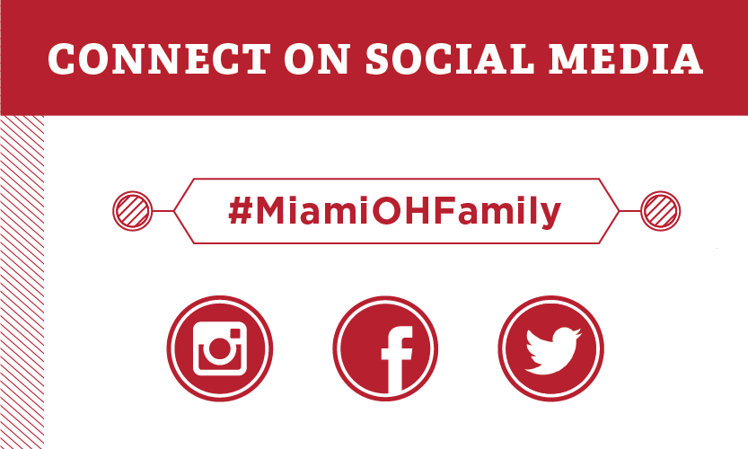 Connect on Social Media #MiamiOHFamily. Instagram icon, Facebook icon, Twitter icon