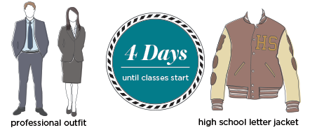 4 days until the start of class, bring at least one professional outfit, not your high school letter jacket