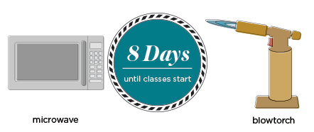 8 days until the start of class, bring your 700 watt or less microwave, not your blowtorch