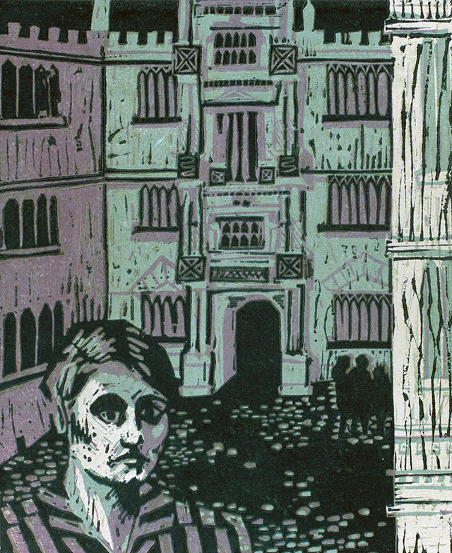 Figure in striped shirt in courtyard, 1964, woodcut on paper.
