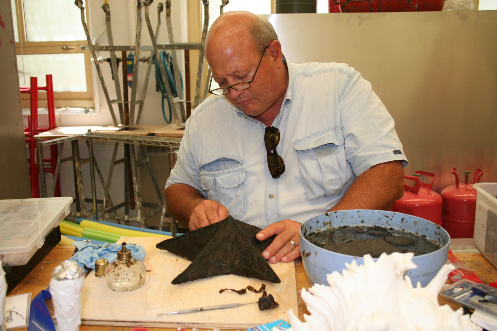 The star and comets were created by alumni in a CraftSummer workshop lead by Jim Killy, professor emeritus of art