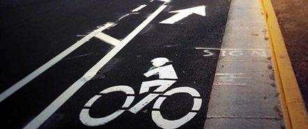 Bike lanes and bike symbols painted on the road