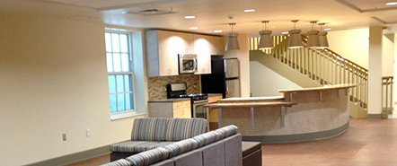 A view of newly renovated McFarland Hall's kitchen