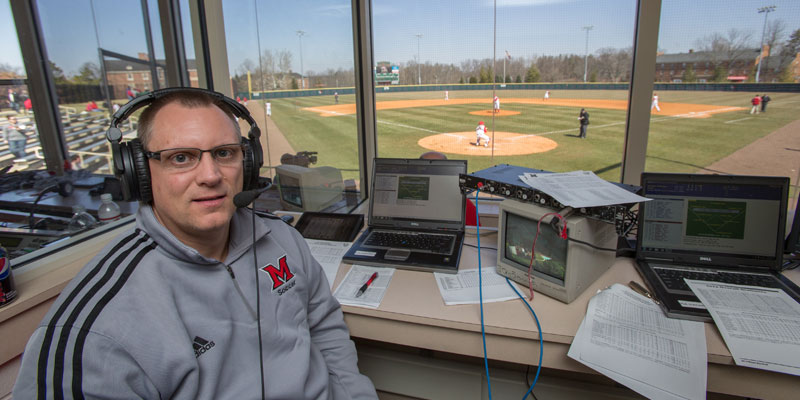 Randy Hollowell in the booth as the voice of Miami Baseball