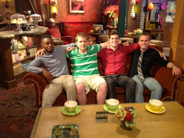 "Students are making friends on the ""Friends"" set."