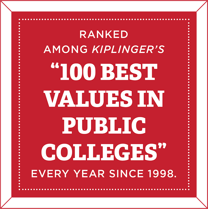 Ranked among Kiplinger's 100 Best Values in Public Colleges every year since 1998.