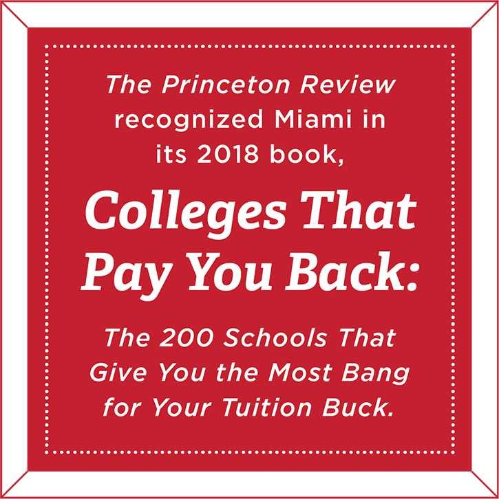 The Princeton Review recognized Miami in its 2018 book, Colleges That Pay You Back: The 200 Schools That Give You the Most Bang for Your Tuition Buck.